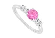 Princess Cut Diamond and Pink Sapphire Engagement Ring in 14K White Gold 0.60 Carat TGW