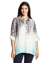 NY Collection Women's Plus-Size Animal Ombre Print Tab Sleeve Tunic Blouse