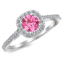 0.85 Carat 14K White Gold Gorgeous Classic Cushion Halo Style Diamond Engagement Ring with a 0.5 Carat Natural Pink S...