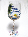 Tropical Beach Themed Wine Glass - No Shoes, No Shirts, No Problem - Features a Beach Scene with Palm Tree, Starfish,...