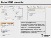 Better HANA integration