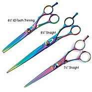 Master Grooming Tools Stainless Steel 5200 Rainbow Series Pet Straight Shears, 8-1/2-Inch