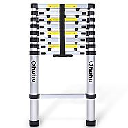 Ohuhu 8.5ft EN131 Aluminum Telescopic Extension Ladder, Extendable Telescoping Ladder with Spring Loaded Locking Mech...