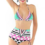 Women's Padded Bikini Sets Halter Neck High Waist Two Pieces Swimsuits for Women