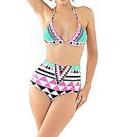 Women's High Waist Padded Bikini Swimsuit Swimwear Push Up Bathing Suit for Women
