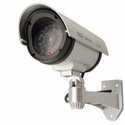 Outdoor Fake , Dummy Security Camera with Blinking Light (Silver)