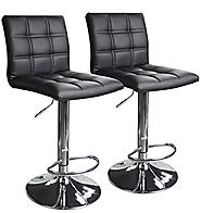 Modern Square Leather Adjustable Bar Stools with Back, Set of 2, Counter Height Swivel Stool by Leopard (Black)