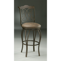 Athena Swivel Barstool with Florentine Coffee Fabric in Autumn Rust Height: 26""