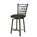 Bay Point Swivel Barstool with Florentine Coffee Fabric in Matte Black Height: 26""