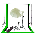 CowboyStudio Photography/Video Studio Triple Lighting Kit with 10 feet x 12 feet Black, White and Green Muslins Backd...