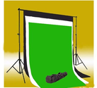 CowboyStudio Photography 10 X 12ft Black, White & Chromakey Green Muslin Backdrops with Background Support System and...