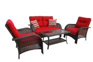Patio Furniture Set. Red 4-Piece Cushioned Wicker Outdoor Patio Furniture Set. This Contemporary Garden Furniture Is ...