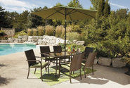 Patio Furniture Set. A Lovely Wicker Patio Furniture Set That Has 6 Cushioned Patio Chairs And Patio Table. This Pati...