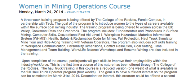 Headline for Women in Mining Operations Program Resource List