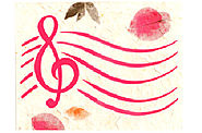 G-Clef w/Petals Music Note Card