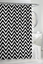 Kassatex Cortina Black & White Classic Chevron Fabric Shower Curtain