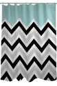 Black/White/Light Blue Chevron Shower Curtain