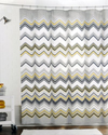 Max Studio Fabric Shower Curtain Chevron Pattern Black Gray Yellow on White