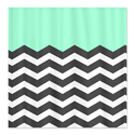 CafePress Mint Black White Chevron Shower Curtain