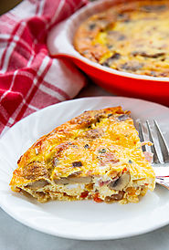 Ham and Mushroom Crustless Quiche