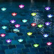 Pool Floating Lights,Lighted Floating Flowers,Pond Decor,Floating Pool Flower Lights Color-Changing -for Wedding Outd...