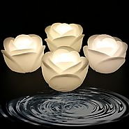 Acmee (Pack of 4) Warm White Color Flameless Wax LED Water Floating Rose Candle Light for Wedding or Event Decoration...