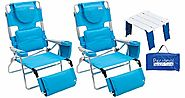 Rio Beach Face Opening Read-Through Sunbed High Seat Beach Chair & Lounger (2 Pack), Turquoise + Personal Beach Table...