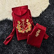 Juicy Couture Studded JC Crown Velour Tracksuit 6020 2pcs Women Suits Red