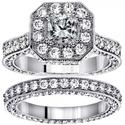 5.14 CT TW Princess Cut Designer Engagement Bridal Set in 14k White Gold