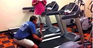 Exercise Ball on Treadmill Fail | Funny People Images- Gif-King.com