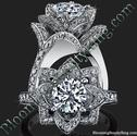 Beautiful Petra 1.58 ctw. Rose Flower Diamond Engagement Ring - bbr607
