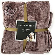 Laura Ashley Reversible Micro Fur Pet Dog Bed Blanket Throw Slate Grey Gray