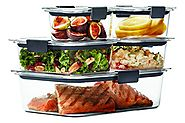 Rubbermaid Brilliance Food Storage Container, 10-Piece Set, 100% Leak-Proof, Plastic, Clear