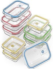 Vremi 18 Piece Glass Food Storage Containers with Locking Lids - BPA Free Airtight Oven Freezer Dishwasher and Microw...