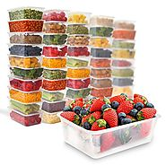 50 Food Containers with leakproof lids - 25 oz | Microwave & Freezer safe | Reusable - Disposable Plastic Meal Storag...