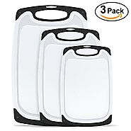 Plastic Cutting Board,oobest 3 Piece Chopping Board Plastic Cutting Board Set with Non-Slip Feet and Deep Drip Juice ...