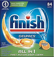 Finish All In 1 Gelpacs, Orange 84 Tabs, Dishwasher Detergent Tablets(Packaging may vary)