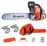 "TIMBERPRO 62cc 20"" Petrol Chainsaw with 2 chains, Carry Bag and Assisted Start"