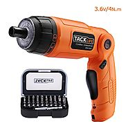 Tacklife SDH13DC Advanced Cordless Screwdriver 3.6-Volt 2000mAh MAX Torque 4N.m 3-Position Rechargeable with 31 Screw...