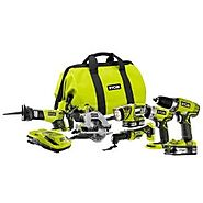 Ryobi P884 One+ Combination Lithium Ion Cordless Power Tool Set (6 x Power Tools, 2 x Compact Lithium Ion Batteries, ...