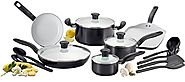 T-fal C921SG Initiatives Ceramic Nonstick Cookware Set, 16-Piece, Black