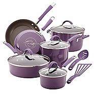 Rachael Ray 12-Piece Cucina Hard Enamel Nonstick Cookware Set, Lavender/Purple