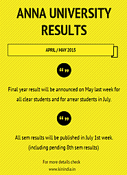 Anna University Results 2015 April May | 8th 6th 4th 2nd sem