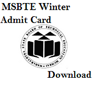 MSBTE Hall ticket Winter 2015 download Diploma exam W15
