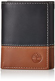 Timberland Men's Hunter Colorblocked Trifold Wallet, Black/Brown, One Size
