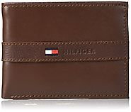 Tommy Hilfiger Men's Ranger Leather Passcase Wallet with Removable Card Case, Cognac, One Size