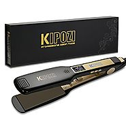 KIPOZI Professional Titanium Flat Iron Hair Straightener with Digital LCD Display ,Dual Voltage,Instant Heat Up(1.75 ...