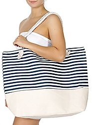SERENITA Extra large canvas beach bag Stripe 3