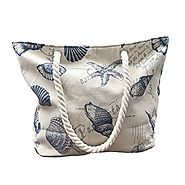 Beach Bag With Inner Zipper Pocket Size L (Large, Cream)