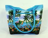 Waterproof Palm Tree Beach Design Canvas Beach Bag with Wood Balls Zipper Closure 21 X 15 X 6""
